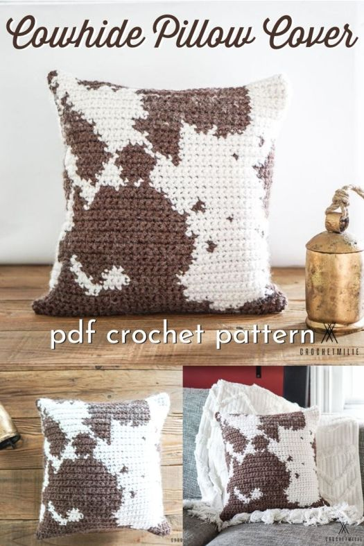 Cowhide print crochet pillow cover. What a fun idea for a modern farmhouse decor vibe! Love this fun tapestry crochet cowhide print pattern! #crochetpattern #cowhidepattern #cowhideprint #farmhousedecor #diyfarmhousestyle #farmhousestyle #crochetfarmhouse #craftevangelist