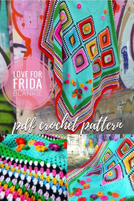 Love for Frida Blankie crochet pattern. Use up your stash with this fun and colourful throw blanket pattern inspired by Frida Kahlo! #crochetpattern #crochetblanket #blanketpattern #fridakahlo #craftevangelist