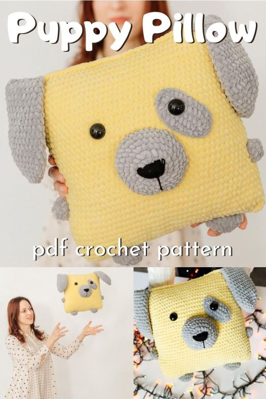 Adorable stuffed puppy pillow crochet pattern! Such a fuzzy crochet cushion pattern! Perfect handmade gift for a kids' room! #crochetpattern #crochetcushion #puppypillow #puppycushion #giantamigurumi #amigurumipattern #craftevangelist