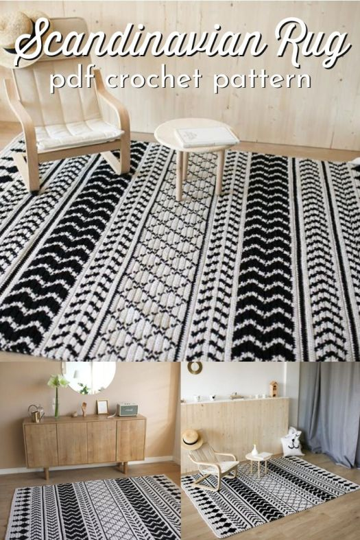 Scandinavian Rug crochet pattern in black and white. I love the contrast and simplicity of these two neutrals mixed together in multiple interesting designs. Perfect for boho or scandinavian decor! #crochetpattern #crochetrugpattern #crochetrug #rugpattern #craftevangelist