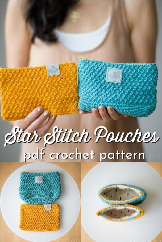 Pretty textured star stitch on this crochet pouch pattern! Love this two-in-one crochet pattern for these adorable little pouches! I love it when there are multiple options for a pattern# #crochetpattern #crochetpouch #crochetbag #craftevangelist