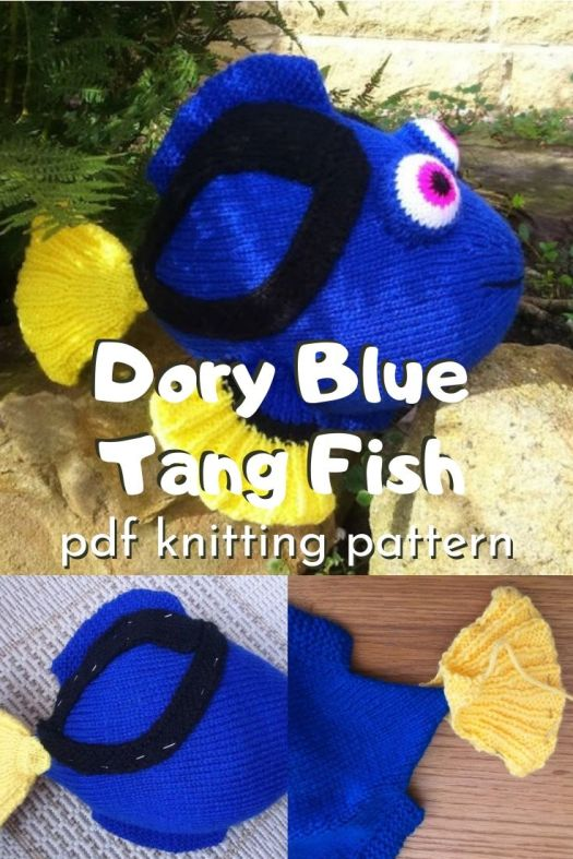 Cute and adorable knitting pattern for this Dory Blue Tang Fish! Perfect for a Finding Nemo or Finding Dory fan! Love this adorable stuffed fish knitting pattern #knittingpattern #amigurumipattern #handmadedisney #stuffedtoys #handmadetoys #craftevangelist