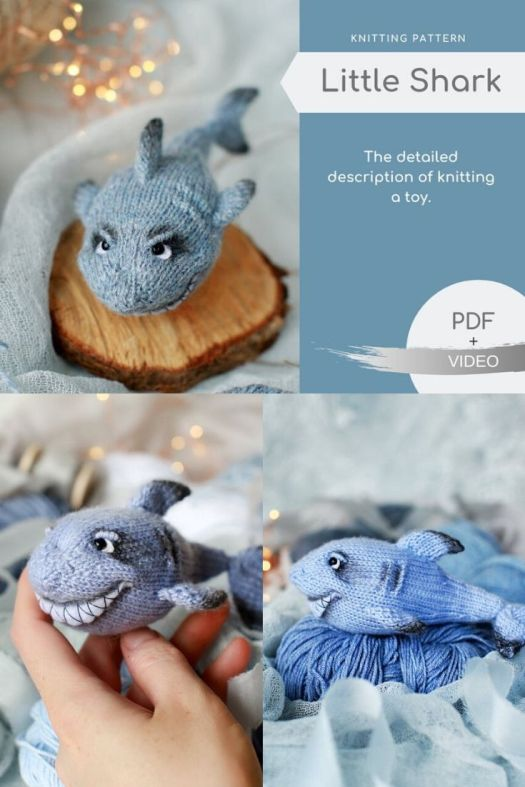 Little Shark knitting pattern with video on how to make this adorable detailed knitting shark toy! Such a fun sea creature to knit! Pattern and full tutorial available! #knittingpattern #knittoys #handknittoys #amigurumiknittingpattern #craftevangelist