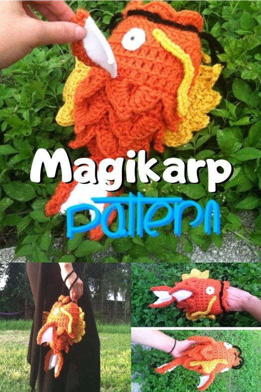 Fun and funny crochet pattern for a karp fish pouch. Keep all your necessities close at hand in this cute little magikarp clutch crochet pouch pattern. So fun! #crochetpattern #crochetpouch #magikarp #crochet #craftevangelist