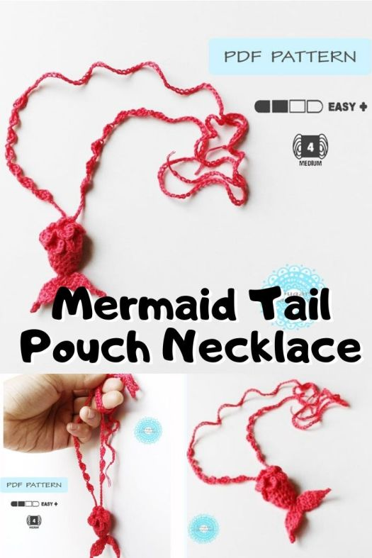 Sweet little crocheted mermaid tail pouch necklace pattern! What a sweet little pattern! Perfect crocheted beach jewelry! #crochetpattern #crochetnecklace #crochetpouch #crochetjewelry #craftevangelist