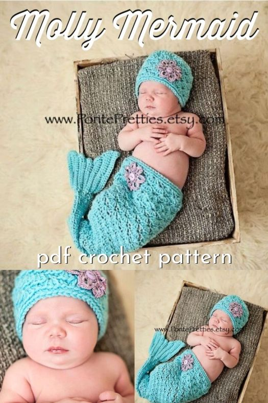 Adorable little baby photo prop, mermaid tail and sweet little cap! Love this pattern for 0-3 months or 3-6 months. Lovely for a photo shoot! #crochetpattern #mermaidbaby #babymermaid #crochetmermaid #craftevangelist