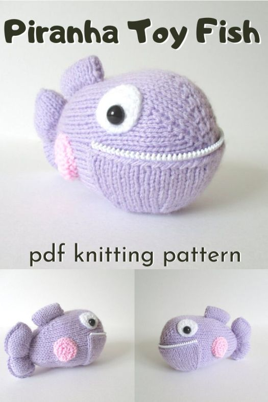 Adorable knitted piranha fish pattern! Look at its zipper teeth! How fun is that!? Love this sweet little knitting pattern for this handmade stuffed toy fish! #knittingpattern #knittedtoy #knitstuffedtoy #handmadetoys #knitamigurumi #craftevangelist