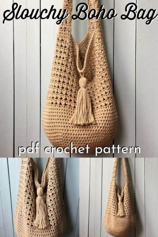 This beautiful slouchy handbag is so pretty and roomy. Perfect boho bucket bag! I love this casual look with this fun and functional tassel! #crochetpattern #crochethandbag #bohocrochet #crochetstyle #craftevangelist