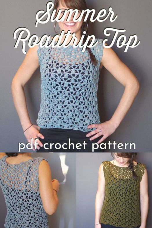 A great sleeveless top crochet pattern, perfect project for travelling, perfect top for on the go! Love this lacy breezy easy summer crochet top pattern! #crochetpattern #crochettoppattern #summercrochet #crochet #craftevangelist