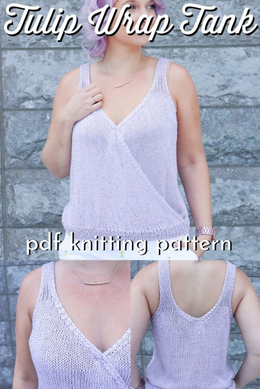 Beautiful wrap tank top knitting pattern! Love this new pattern by #knitatude! Perfect summer knitting project; can't wait to make this lovely breezy summer tank! #knittingpattern #knittanktop #tanktopknittingpattern #summerknits #craftevangelist