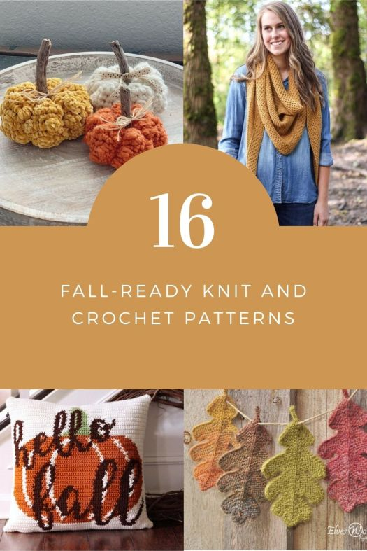 16 great fall ready knit and crochet patterns to start making this autumn. Great hats and decor items; sweaters and pumpkins, there's a pattern for everyone in this collection! #knittingpattern #crochetpattern #knitting #crochet #patterns #yarn #crafts #craftevangelist