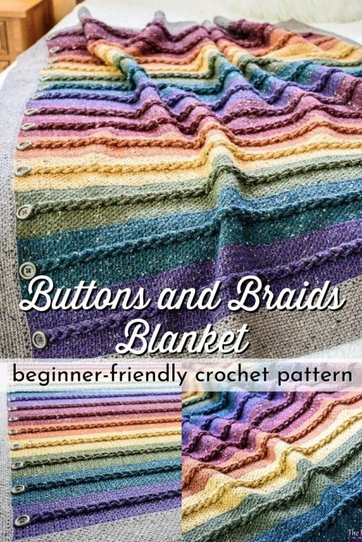 Gorgeous braid texture on this easy crochet blanket pattern! Can you believe it takes just 3 stitches to make this stunning blanket?! I love the button detail! And it includes instructions to make it in any size you want! #crochetblanketpattern #crochetpattern #blanketpattern #crochetafghan #afghanpattern #crafts #yarn #craftevangelist
