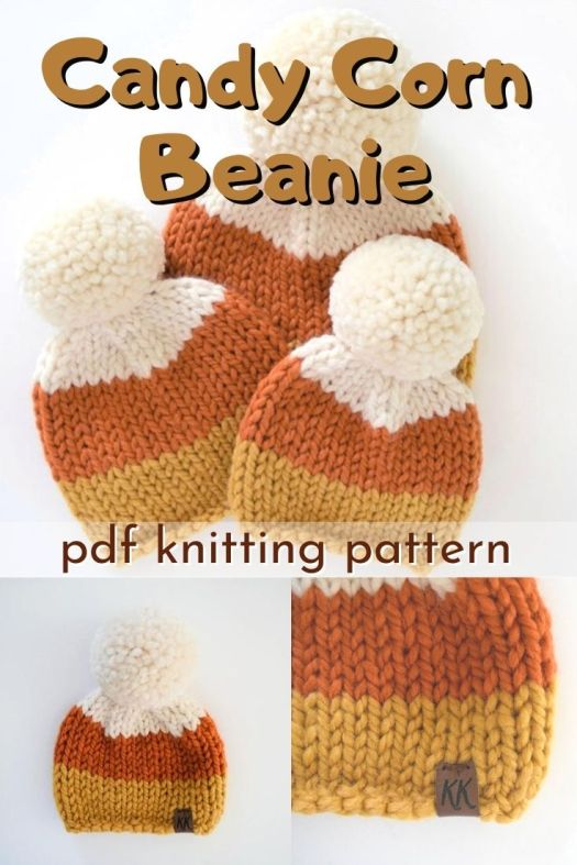 Adorable knit beanie pattern to make a candy corn hat! How much fun is this?! Make them in multiple sizes to fit the whole family. This makes a great market item to sell or makes a great gift! #knittingpattern #knithatpattern #knitbeaniepattern #knitbeanie #candycorn #candycornhat #yarn #crafts #craftevangelist
