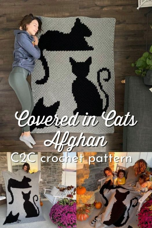 Sweet cat covered blanket crochet pattern. I love this simple, two-color C2C graphgan pattern! So cute for the cat-lover! #crochetpattern #C2C #cornertocorner #graphgan #afghanpattern #crochetblanket #crafts #yarn #craftevangelist