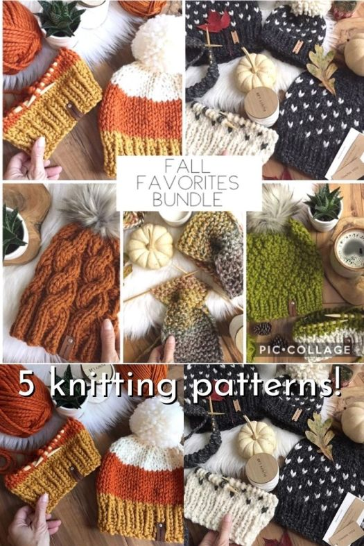 Fall Favourites Bundle of 5 fall knit hats and ear warmer knitting patterns. Get a great start on the maker season with these lovely trendy knit hat patterns! #knittingpattern #knithatpattern #knitearwarmerpattern #knitting #yarn #crafts #craftevangelist