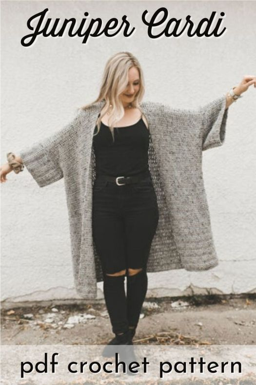 Super cute and generously oversized Juniper Cardi crochet pattern is perfect for cool fall days and is a lovely cozy cardigan to make this season. #crochetpattern #crochetcardigan #cardiganpattern #yarn #crafts #craftevangelist