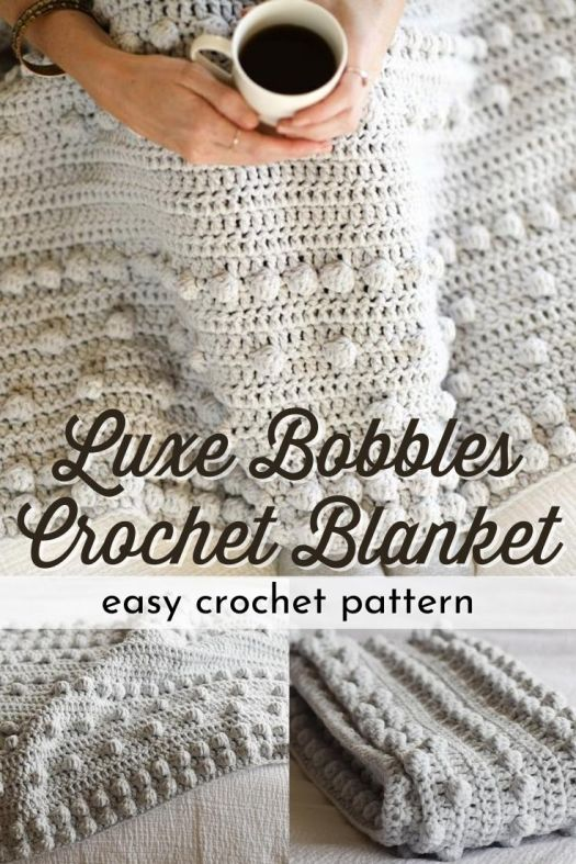 I love the look of this sweet cuddly bobble-y crochet blanket! This easy crochet pattern is perfect for the beginner and makes this stylish and fun afghan in 2 sizes! #crochetblanketpattern #crochetblanket #crochetpattern #blanketpattern #crafts #yarn #craftevangelist
