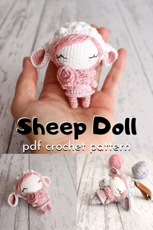 Such a sweet and beautiful little amigurumi sheep doll pattern! I love her little rosette and floppy sheep ears with puff stitch on the hat How adorable! Look how great it would be as a key chain! #crochetpattern #amiguruimpattern #amigurumidoll #miniamigurumi #tinyamigurumi #yarn #crafts #craftevangelist