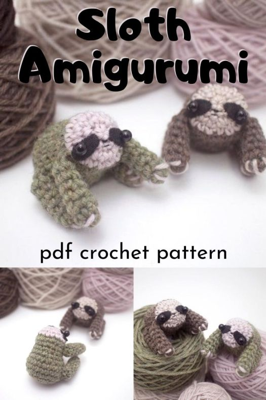 Super sweet and adorable little sloth amigurumi crochet pattern! How sweet are these little guys? Perfect summer stash-busting project to make! #crochetpattern #amigurumipattern #crafts #yarn #miniamigurumi #tinyamigurumi #craftevangelist