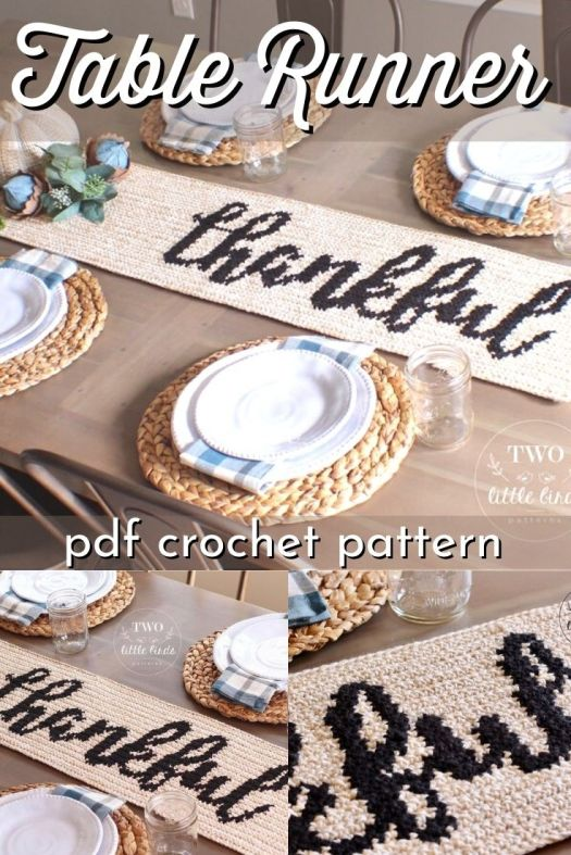 "Gorgeous intarsia crochet table runner with ""thankful"" script. Rustic and simple handmade thanksgiving centrepiece is perfect to make this fall! #crochetpattern #crochettablerunner #tablerunnerpattern #crochet #pattern #falldecor #handmadefalldecor #yarn #crafts #craftevangelist"
