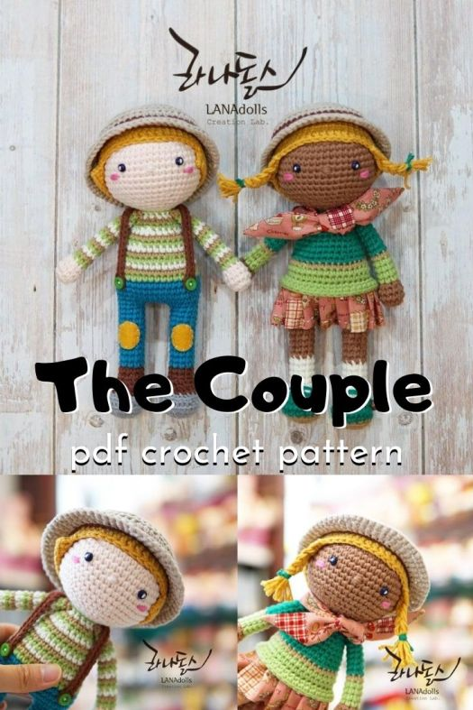 Sweet little basic amigurumi dolls. The Couple makes a great starting point for making adorable handmade crocheted dolls! Can't wait to make one of these sweet toys! #amigurumipattern #crochetpattern #amigurumidolls #crafts #yarn #craftevangelist