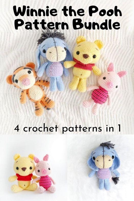 4 super cute patterns in this 1 crochet pattern bundle. You can make Winnie the Pooh, Piglet, Tigger and Eeyore with this cute little crochet pattern! Such a sweet set! #crochetpattern #patternbundle #amigurumipattern #handmadedisney #winniethepooh #crafts #yarn #craftevangelist
