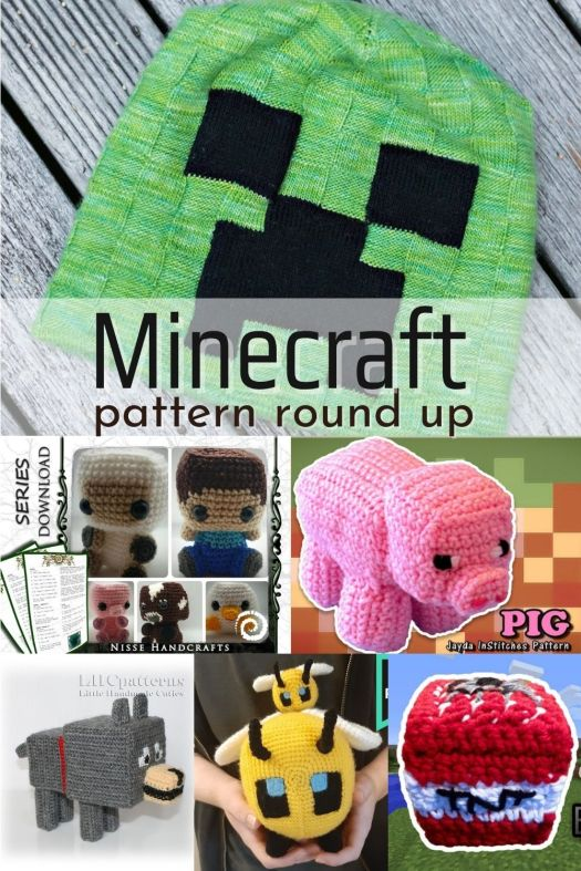 Super fun collection of Minecraft themed patterns and crafts to make and give for gamers! From hats to blankets, stuffed toys, even costume heads and latch hook! #minecraft #knittingpatterns #crochetpatterns #latchhook #minecrafts #amigurumi #minecraftamigurumi #blocktoys #diyminecraft #patternroundup #craftevangelist