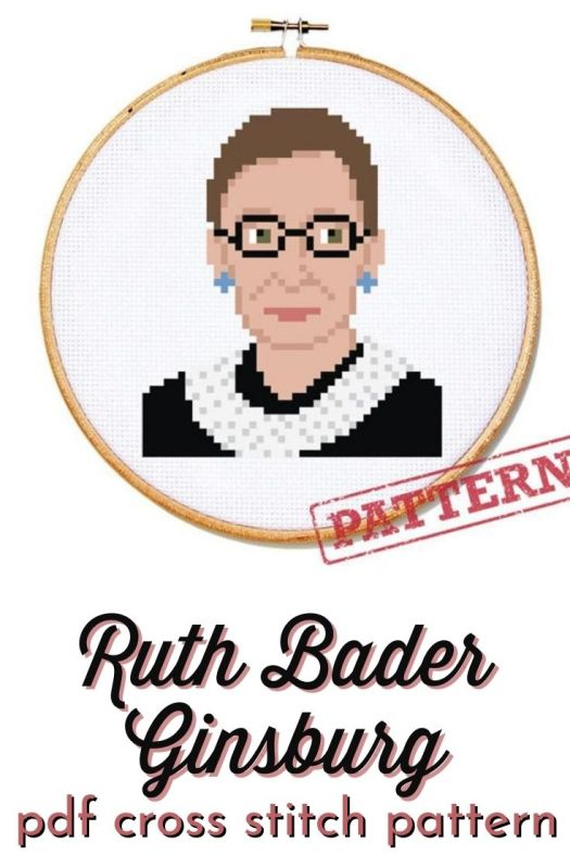 Cross Stitch Pattern for this realistic looking Ruth Bader Ginsburg cross stitch. Commemorate this great feminist by making this RBG cross stitch. #NotoriousRBG #RuthBaderGinsburg #crossstitch #