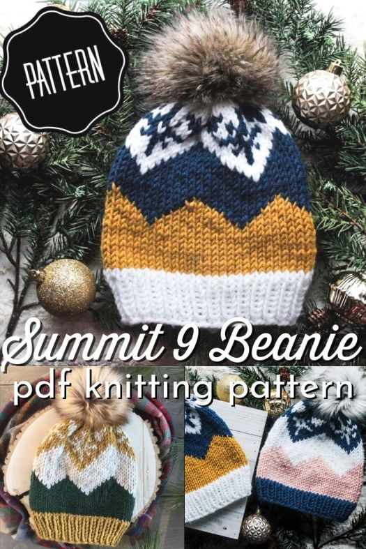 Beautiful fair isle knitting pattern for this lovely Summit 9 Beanie! This warm and cozy hat is knit in the round with bulky yarn so it knits up quickly! #knittingpattern #knithatpattern #knitbeaniepattern #knittoquepattern #beaniepattern #toquepattern #hatpattern #crafts #yarn #AlpineKnitsCo #craftevangelist