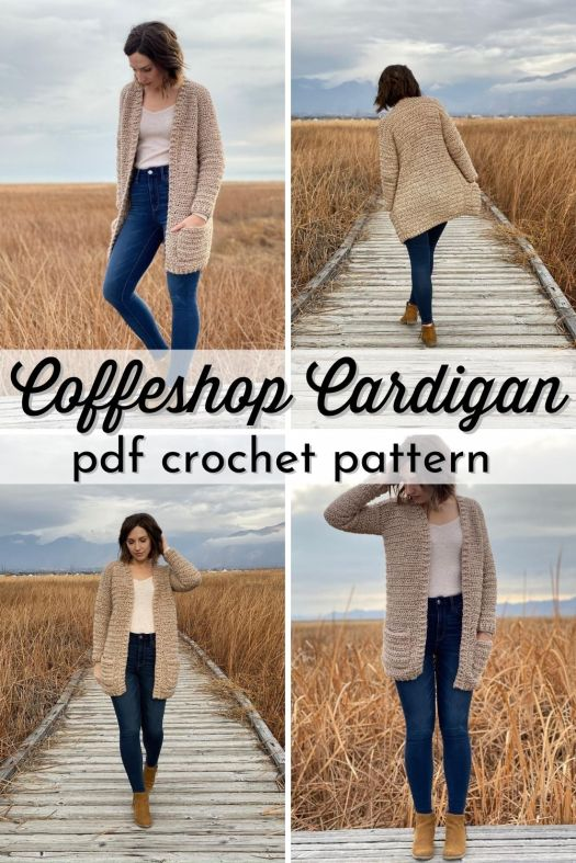 Cozy crochet cardigan pattern, perfect easy pattern for beginner crocheters! Love this casual and warm looking sweater, perfect with skinny jeans! #crochetpattern #crochetsweater #sweaterpattern #coffeeshopcardigan #cardiganpattern #crochetcardigan #EvelynandPeter #CraftEvangelist