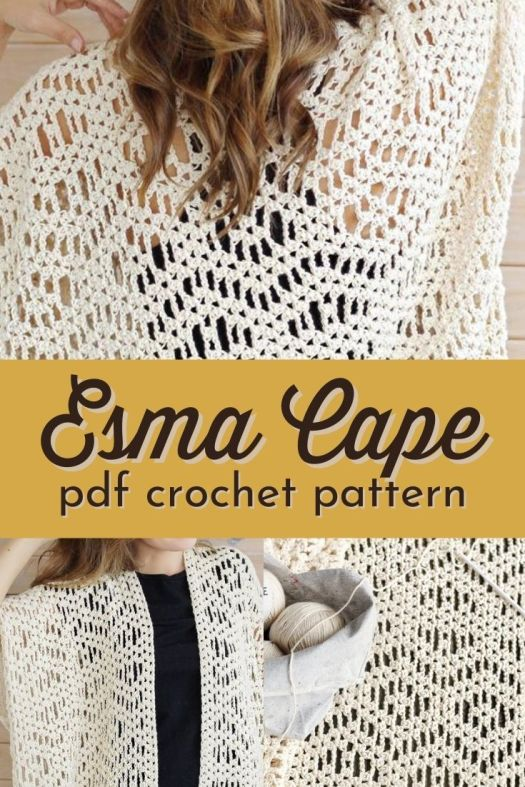 Modern bohemian cape crochet pattern looks like macrame! But much softer! The stitches look like the little knots of macrame! #crochetpattern #crochetsweaterpattern #crochetsweater #crochetcape #crochetbeachcoverup #bohostyle #LakesideLoops #CraftEvangelist