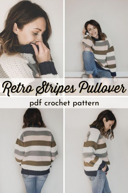 Such a fun striped pullover sweater crochet pattern! Love the mock turtleneck on this beginner level crochet sweater pattern from meg made with love #crochetpattern #crochetsweater #stripedsweaterpattern #sweaterpattern #yarn #crafts #MegMadeWithLove #CraftEvangelist
