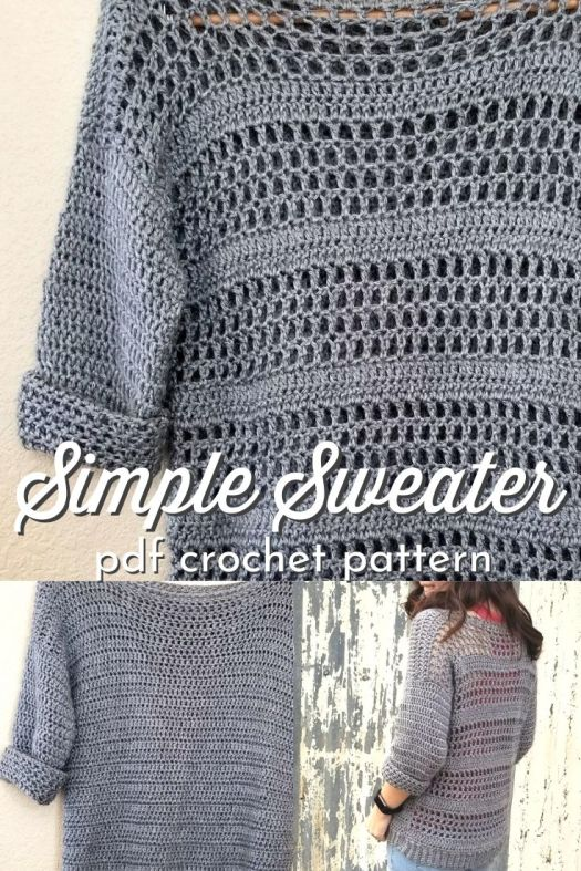 Simple Crocheted Sweater pattern, perfect for beginners. Works up quickly, lovely EASY CROCHET SWEATER PATTERN! #crochetpattern #crochet #crochetsweater #sweaterpattern #easycrochetpattern #HookedHomemadeHappy #CraftEvangelist