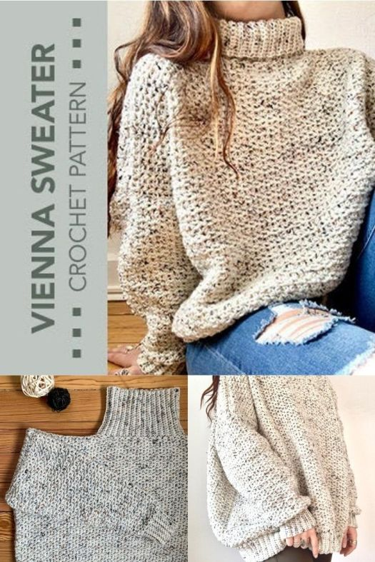 Gorgeous over-sized turtleneck cozy sweater of your dreams! Chunky and cuddly, perfect crochet pattern to make this super snuggly pullover sweater! #crochetpattern #crochetsweater #sweaterpattern #crochetturtleneck #turrtlenecksweaterpattern #yarn #crafts #LCKCrochetShop #CraftEvangelist