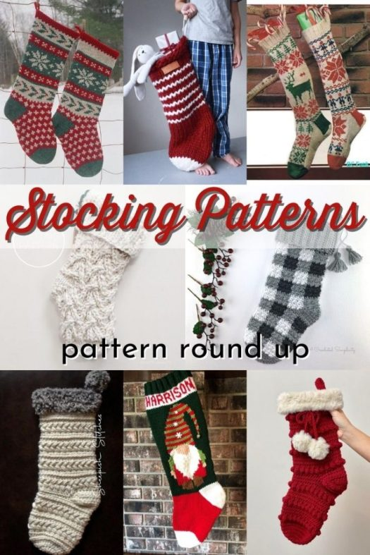 Great knit and crochet Christmas stockings patterns! A Collection of beautiful, vintage and classic modern crochet patterns and knitting patterns for fun stockings! #crochetpattern #knittingpattern #yarn #crafts #patternroundup #knitstockings #crochetstockings #CraftEvangelist