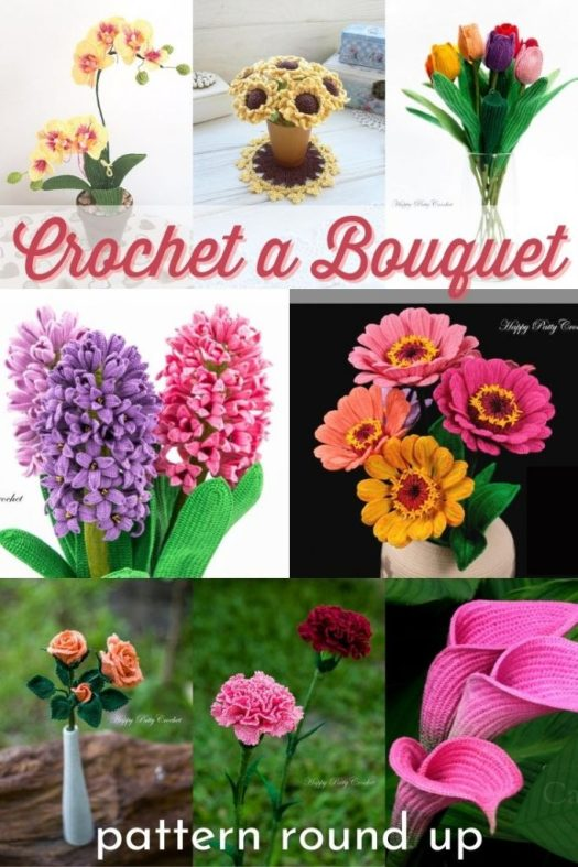 Crochet Pattern Round up of beautiful realistic crocheted flower patterns. Lovely calla lily, zinnias, roses, carnations, tulips, hyacinth, sunflowers, orchids and more! Crochet your very own bouquet of flowers with one of these lovely patterns! #crochetpattern #crochetedflowers #craftevangelist #patternroundup