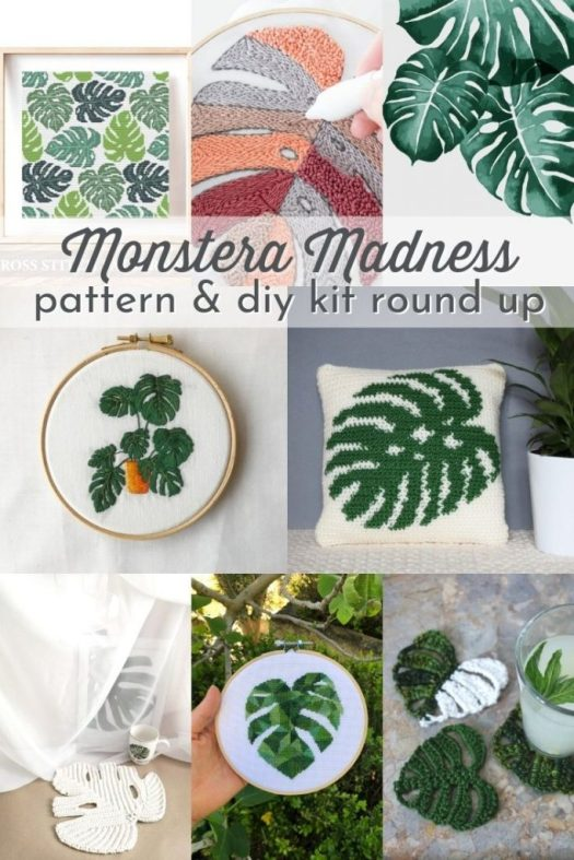 Monstera Madness pattern and diy kit round up to celebrate this gorgeous and trendy plant with handmade home decor crafts ideas from knit, crochet, string art, embroidery and painting. #diyroundup #patterns #diykits #kits #makerkits #monstera #plantart #plantcrochet #plantknit #plantkits #CraftEvangelist