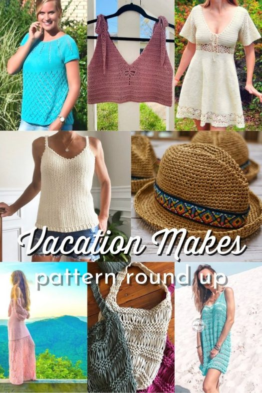 Lovely collection of vacation inspired knit and crochet patterns in a pattern round up by Craft Evangelist. #KnittingPatterns #CrochetPatterns #SummerPatterns #SummerKnits #SummerCrochet #BeachPatterns #BeachKnits #BeachCrochet #VacationPatterns #VacationKnits #VacationCrochet #PatternRoundUp #CraftEvangelist