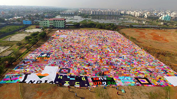Largest-crochet-blanket-laid-out