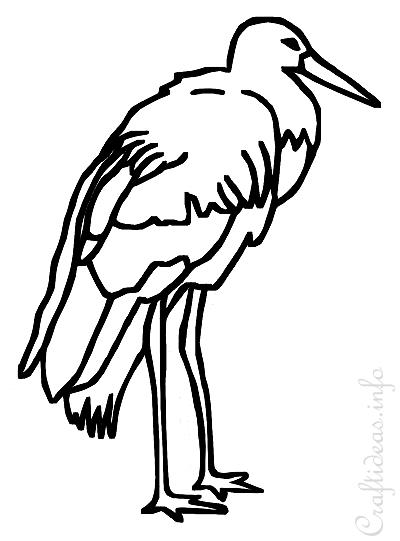 Stork Coloring Book Page for Kids
