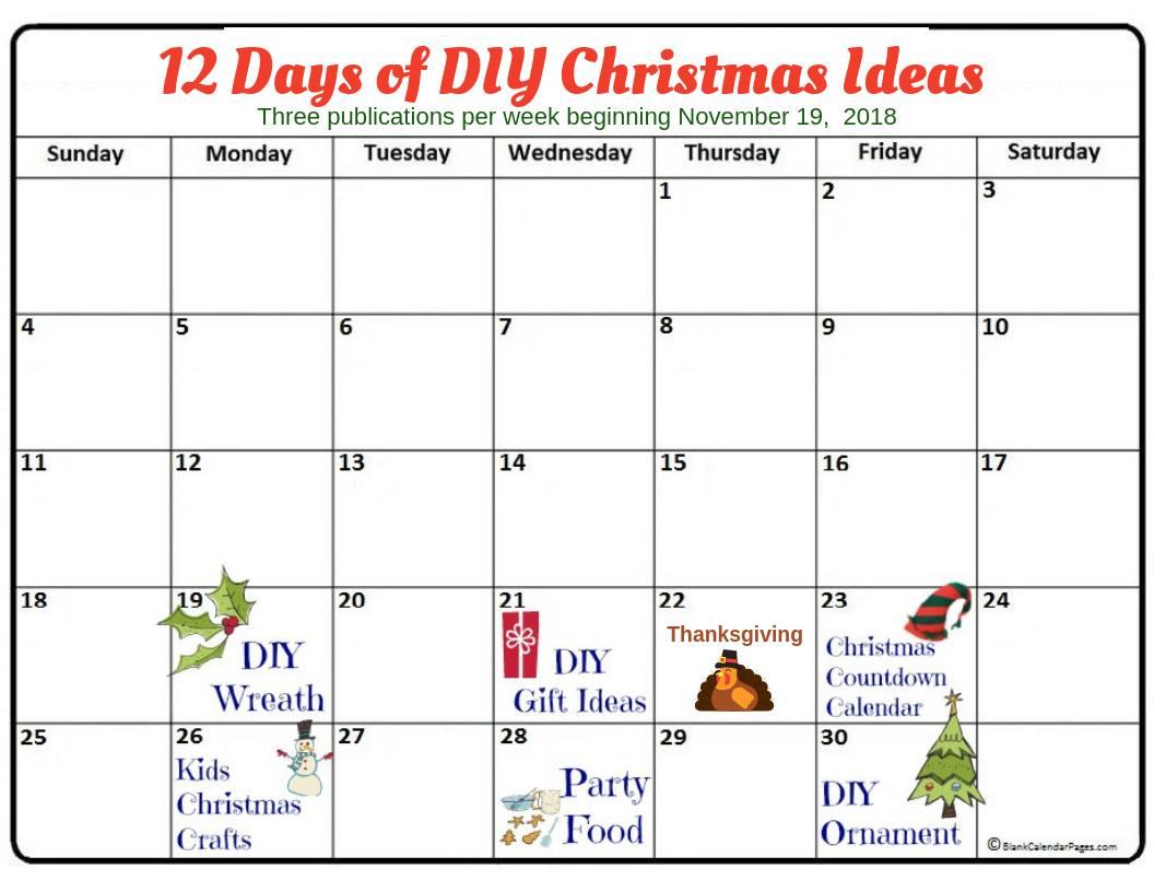 12 Days Of Christmas Diy Ideas Post Calendar November