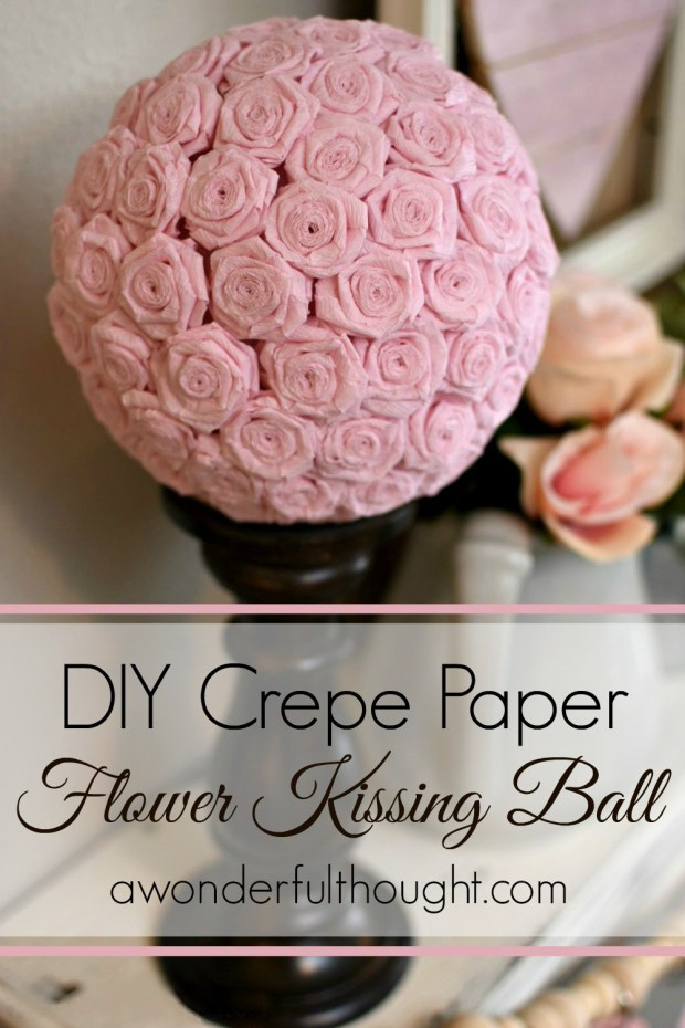 DIY Crepe paper rose kissing ball. Cute for weddings, Valentines etc