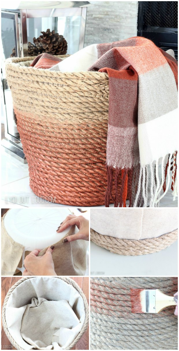 A plastic laundry basket is transformed into a cosy throw basket for your living room.  Easy DIY with rope and a glue gun.
