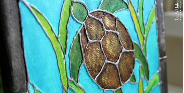 How to make this faux stained glass painting with a glue gun! It looks REALLY good!