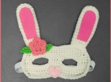 Easter Bunny rabbit mask free crochet pattern and video tutorial.