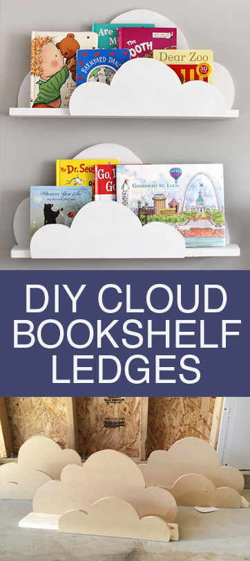 DIY your own cloud bookshelves. Affordable, quick and easy to make. Great cloud shaped bookshelves for kids rooms