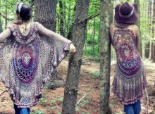Mandala duster jacket with sleeves, free crochet pattern.