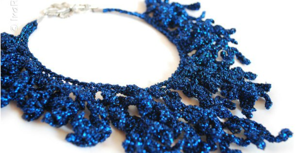 Coral reef necklace. Free jewelry crochet pattern.
