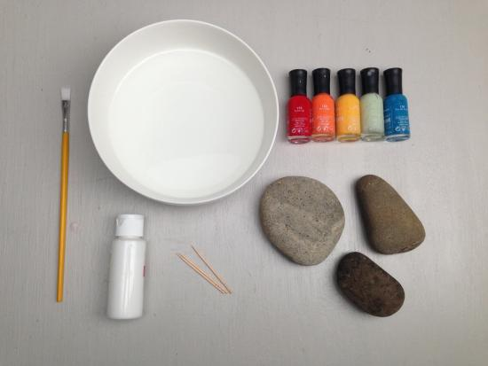 Painted Stones Used A Paperweights