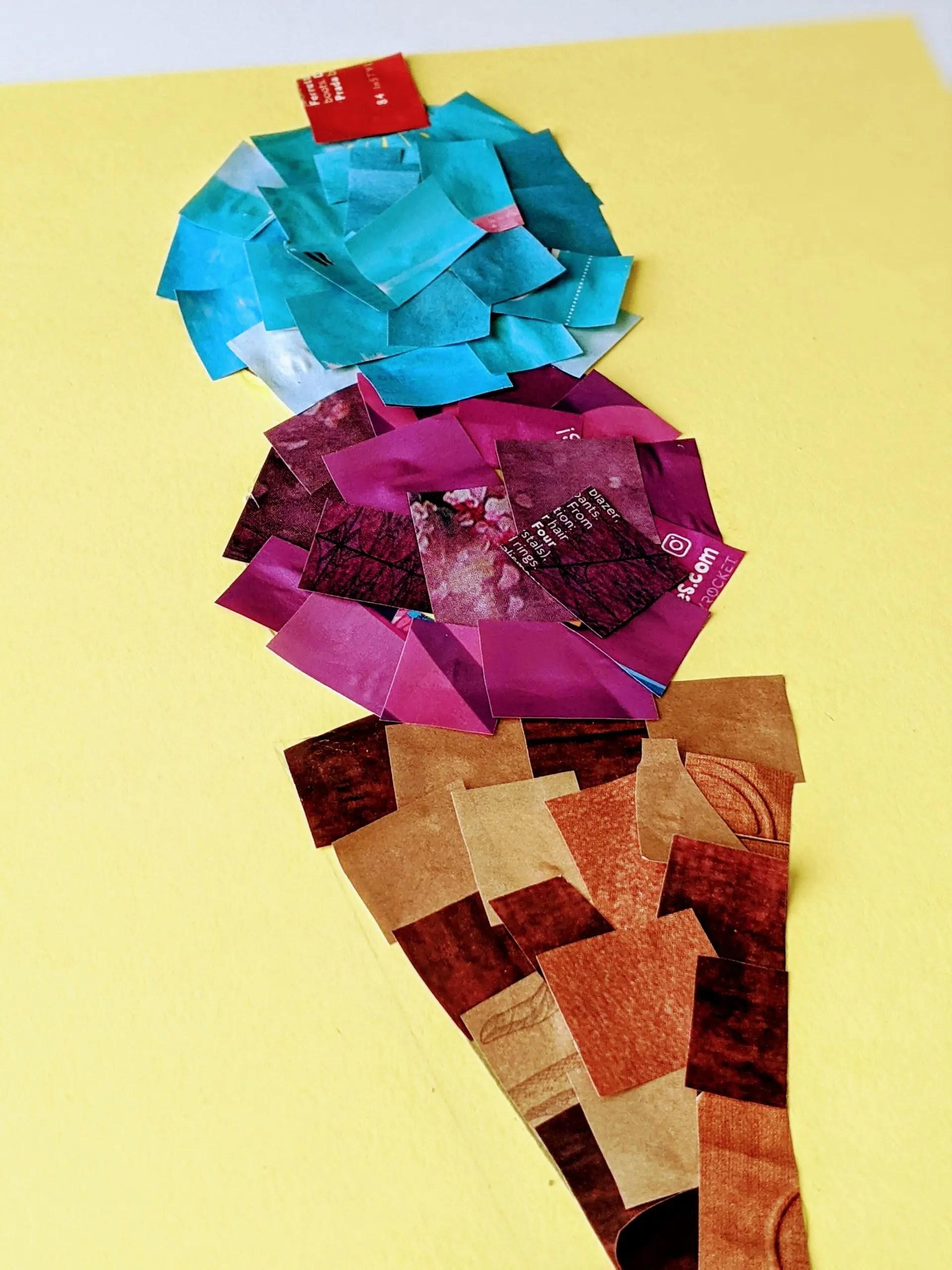 ice cream cone magazine collage craft